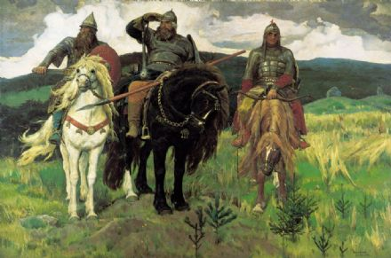 Vasnetsov, Viktor Mikhailovich: Bogatyrs/Warrior Knights. (Russian Epic Heroes) Fine Art Print/Poster. Sizes: A4/A3/A2/A1 (00582)